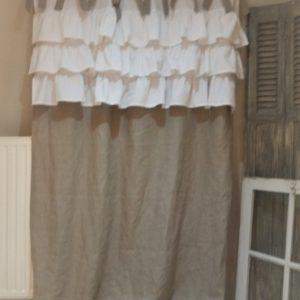 Rideau, shabby, lin, romantique, sur mesure, linge ancien, toile de lin, blanc, ficelle, déco.