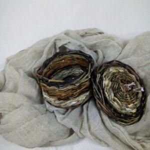 Bonbonnière en saule sauvage et feuilles d'iris